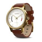 Garmin Vivomove Premium Gold-Tone Steel with Leather Band