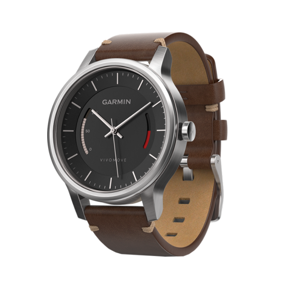 Garmin Vivomove Premium Stainless Steel with Leather Band